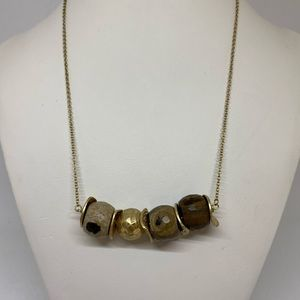 Canvas Jewelry Wood and Gold Bead Neckace NEW